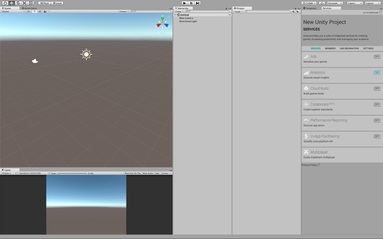 Unityのエディタ画面